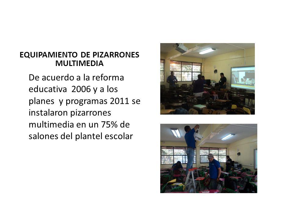 EQUIPAMIENTO DE PIZARRONES MULTIMEDIA De acuerdo a la reforma educativa 2006 y a los planes y programas 2011 se instalaron pizarrones multimedia en un