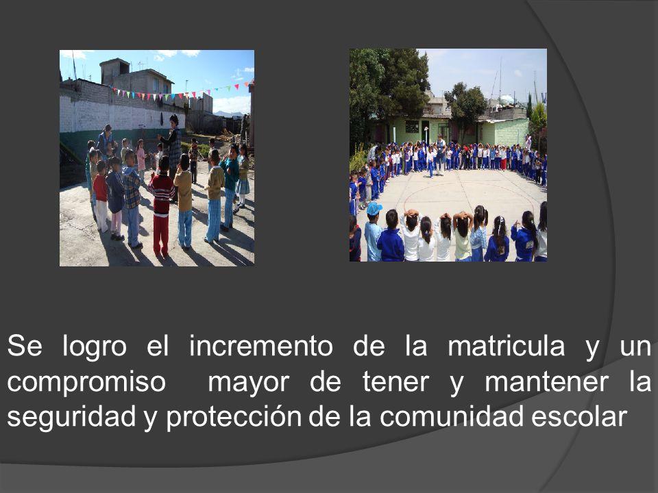 Se logro el incremento de la matricula y un compromiso mayor de tener y mantener la seguridad y protección de la comunidad escolar