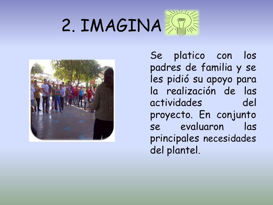 2. IMAGINA Se platico con los padres de familia y se les pidió su apoyo para la realización de las actividades del proyecto. En conjunto se evaluaron