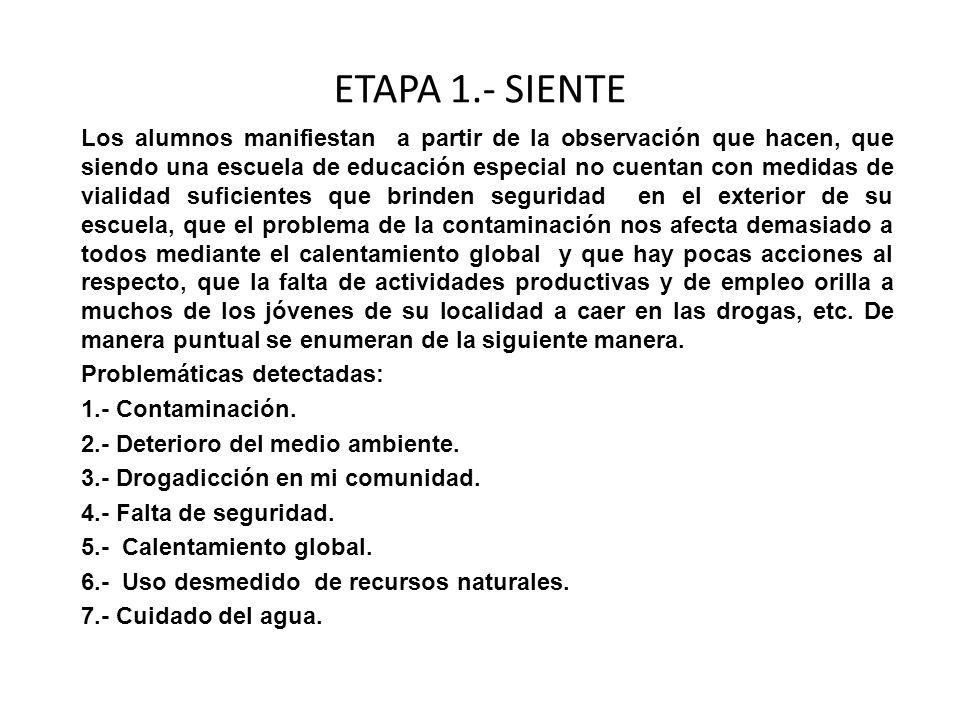 ETAPA 1.- SIENTE Los alumnos manifiestan a partir de la observación que hacen, que siendo una escuela de educación especial no cuentan con medidas de