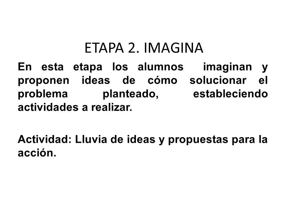 ETAPA 2. IMAGINA En esta etapa los alumnos imaginan y proponen ideas de cómo solucionar el problema planteado, estableciendo actividades a realizar. A