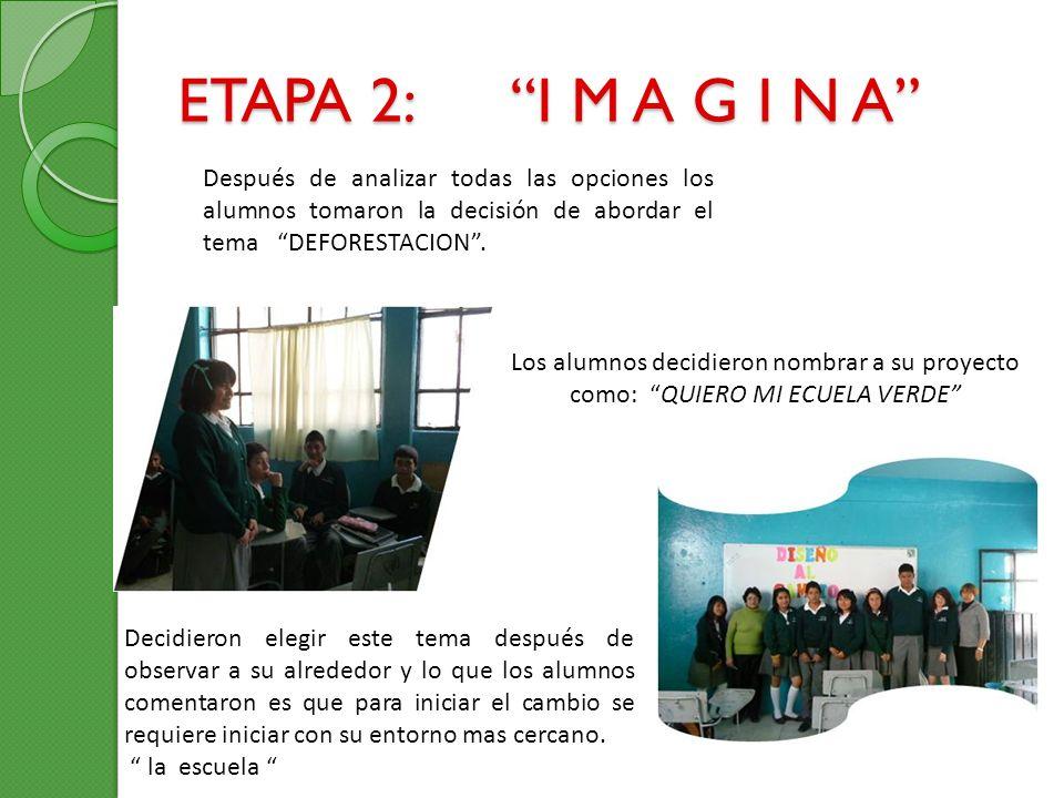 ETAPA 2: I M A G I N A Después de analizar todas las opciones los alumnos tomaron la decisión de abordar el tema DEFORESTACION. Los alumnos decidieron
