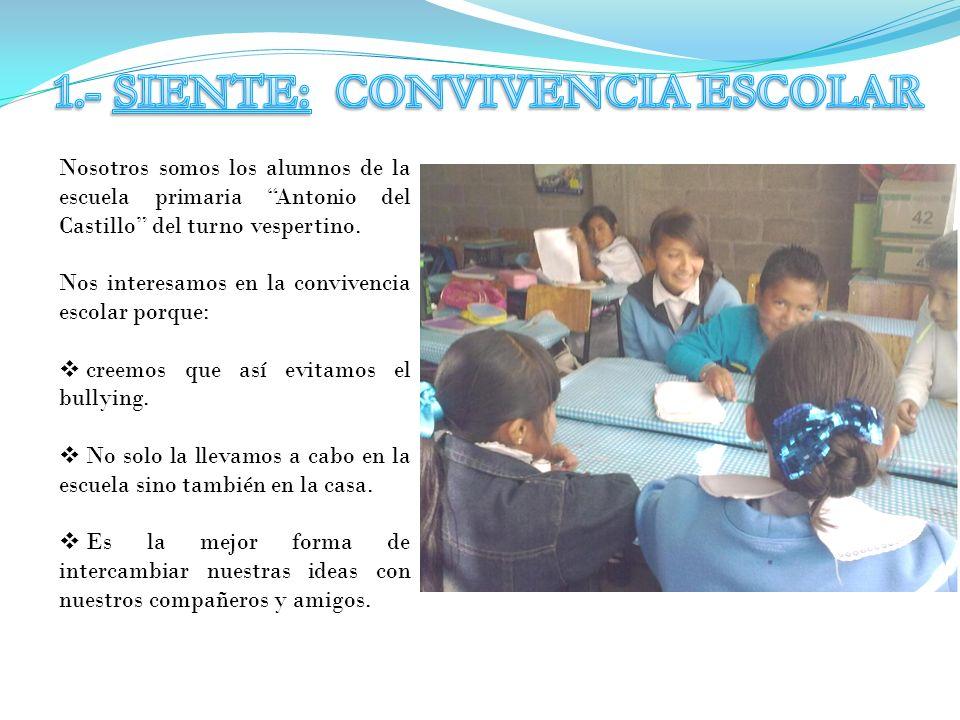 Nosotros somos los alumnos de la escuela primaria Antonio del Castillo del turno vespertino. Nos interesamos en la convivencia escolar porque: creemos