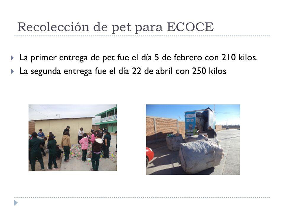 Recolección de pet para ECOCE La primer entrega de pet fue el día 5 de febrero con 210 kilos. La segunda entrega fue el día 22 de abril con 250 kilos