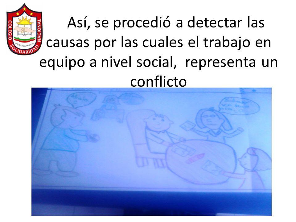 Así, se procedió a detectar las causas por las cuales el trabajo en equipo a nivel social, representa un conflicto