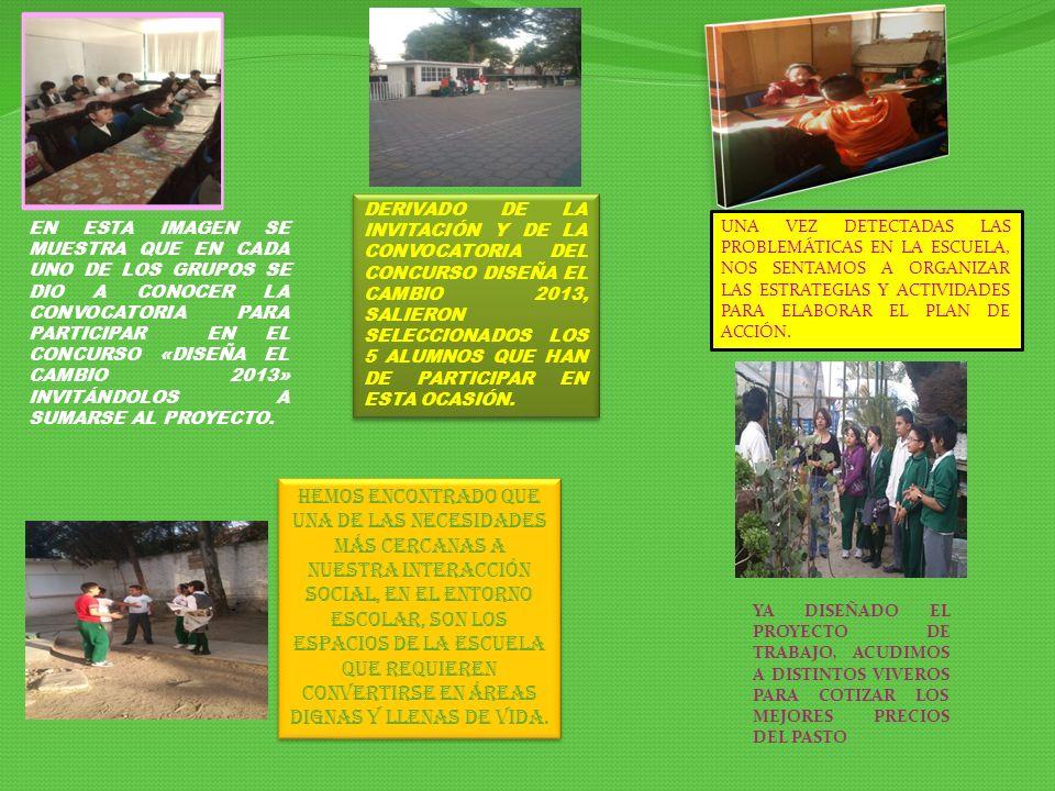 DERIVADO DE LA INVITACIÓN Y DE LA CONVOCATORIA DEL CONCURSO DISEÑA EL CAMBIO 2013, SALIERON SELECCIONADOS LOS 5 ALUMNOS QUE HAN DE PARTICIPAR EN ESTA