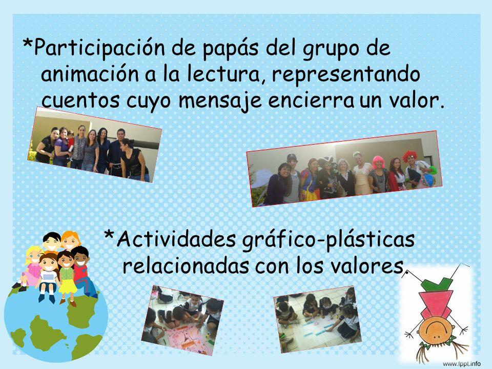 *Participación de papás del grupo de animación a la lectura, representando cuentos cuyo mensaje encierra un valor. *Actividades gráfico-plásticas rela