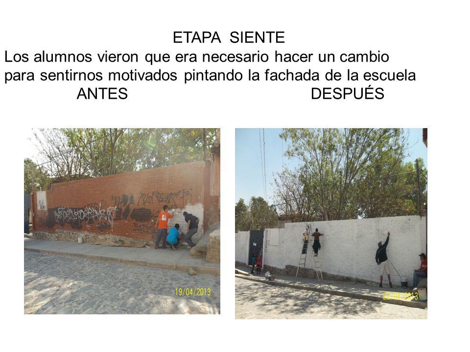 ETAPA SIENTE Los alumnos vieron que era necesario hacer un cambio para sentirnos motivados pintando la fachada de la escuela ANTES DESPUÉS
