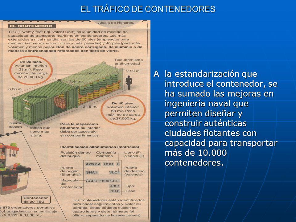 EL TRÁFICO DE CONTENEDORES A la estandarización que introduce el contenedor, se ha sumado las mejoras en ingeniería naval que permiten diseñar y const