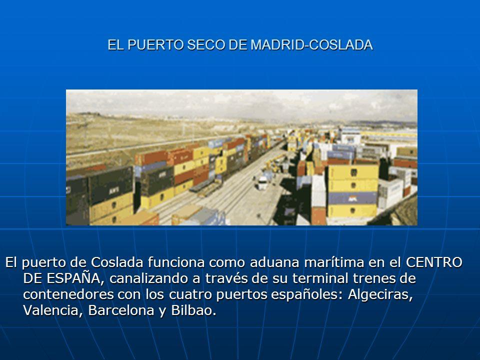 EL PUERTO SECO DE MADRID-COSLADA El puerto de Coslada funciona como aduana marítima en el CENTRO DE ESPAÑA, canalizando a través de su terminal trenes
