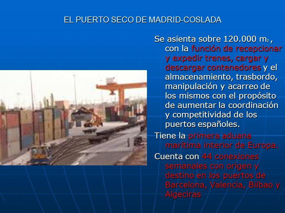 EL PUERTO SECO DE MADRID-COSLADA Se asienta sobre 120.000 m 2, con la función de recepcionar y expedir trenes, cargar y descargar contenedores y el al