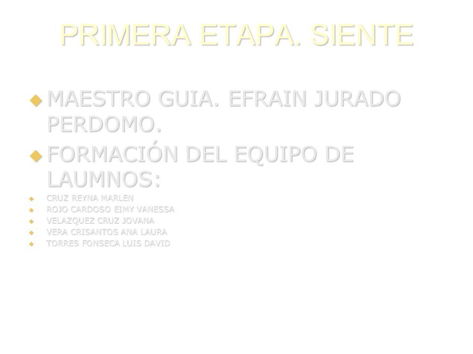 PRIMERA ETAPA. SIENTE MAESTRO GUIA. EFRAIN JURADO PERDOMO. MAESTRO GUIA. EFRAIN JURADO PERDOMO. FORMACIÓN DEL EQUIPO DE LAUMNOS: FORMACIÓN DEL EQUIPO