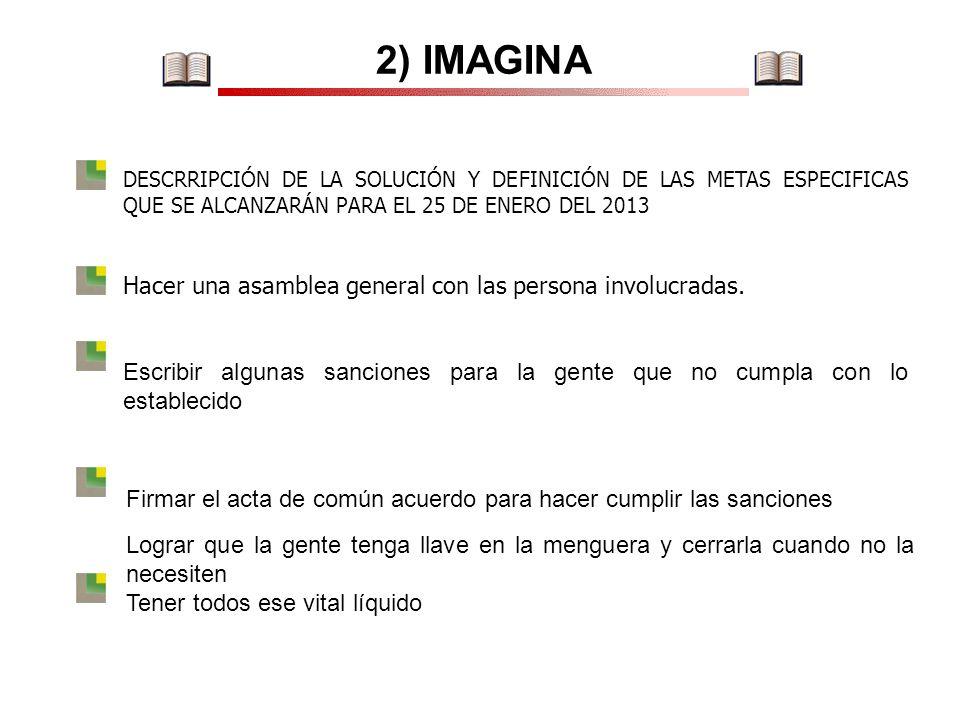 2) IMAGINA DESCRRIPCIÓN DE LA SOLUCIÓN Y DEFINICIÓN DE LAS METAS ESPECIFICAS QUE SE ALCANZARÁN PARA EL 25 DE ENERO DEL 2013 Hacer una asamblea general