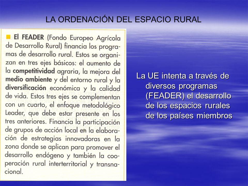 La UE intenta a través de diversos programas (FEADER) el desarrollo de los espacios rurales de los países miembros