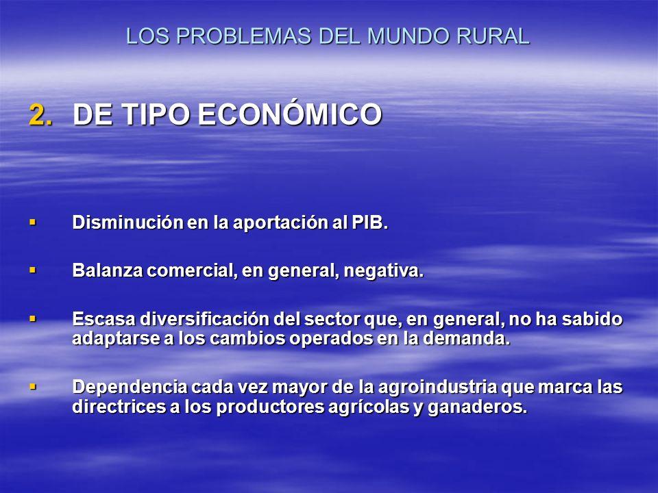 LOS PROBLEMAS DEL MUNDO RURAL 2.DE TIPO ECONÓMICO Disminución en la aportación al PIB. Disminución en la aportación al PIB. Balanza comercial, en gene