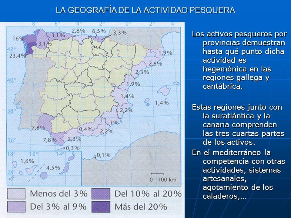 LA GEOGRAFÍA DE LA ACTIVIDAD PESQUERA Los activos pesqueros por provincias demuestran hasta qué punto dicha actividad es hegemónica en las regiones ga