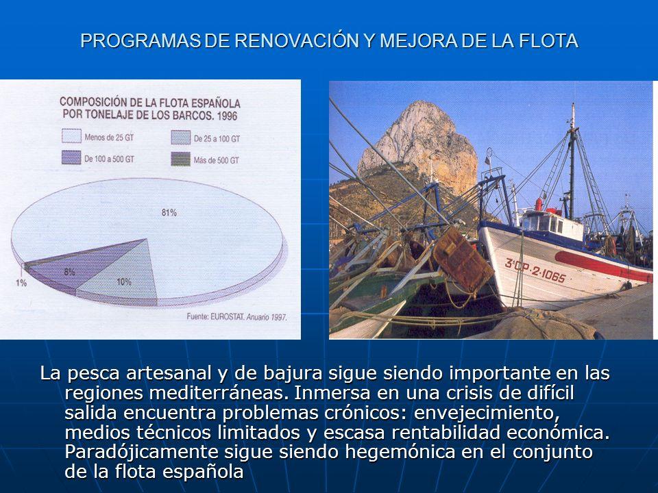 PROGRAMAS DE RENOVACIÓN Y MEJORA DE LA FLOTA La pesca artesanal y de bajura sigue siendo importante en las regiones mediterráneas. Inmersa en una cris