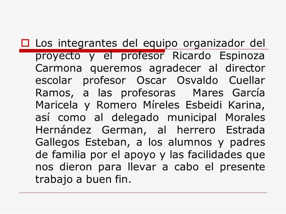Los integrantes del equipo organizador del proyecto y el profesor Ricardo Espinoza Carmona queremos agradecer al director escolar profesor Oscar Osval
