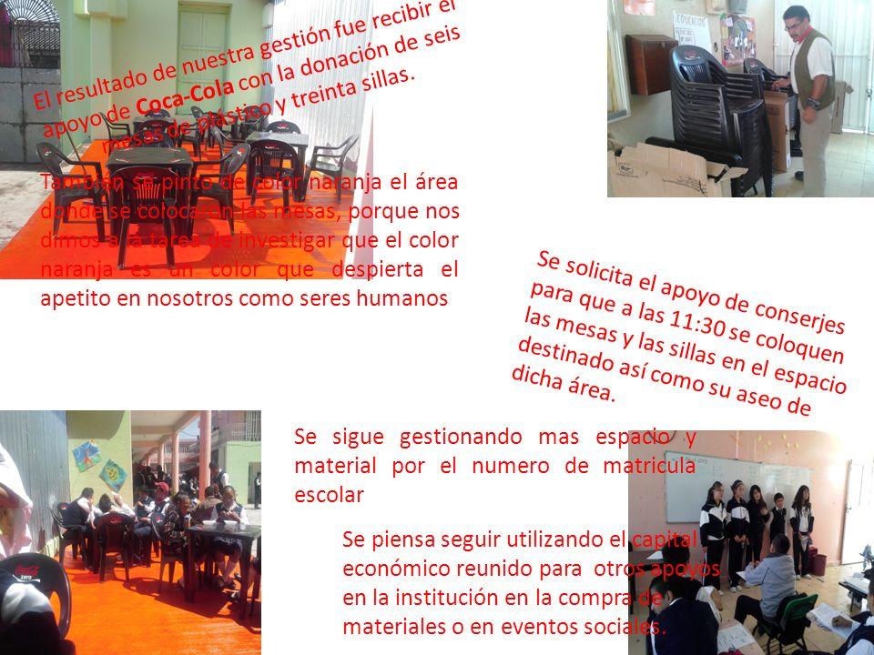 También se pinto de color naranja el área donde se colocaron las mesas, porque nos dimos a la tarea de investigar que el color naranja es un color que