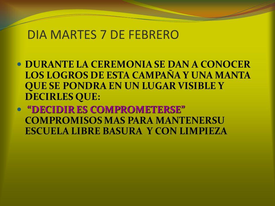 COMPARTE COMPROMISOS RESPONSABILIDAD PARA RESGUARDAR EL ABUSO POR PARTE DE ALGUNOS ALUMNOS A OTROS INVITAR A LOS PADRES DE FAMILIA A QUE PARTICIPEN EN LA CONCIENTIZACION DE POR QUE ES IMPORTANTE MANTENER UNA ESCUELA LIMPIA EN AREAS VERDES BARDAS Y MOBILIARIO REALIZAR UNA CAMPAÑA EN LA COMUNIDAD ESCOLAR DURANTE DE LAS CEREMONIAS CIVICAS