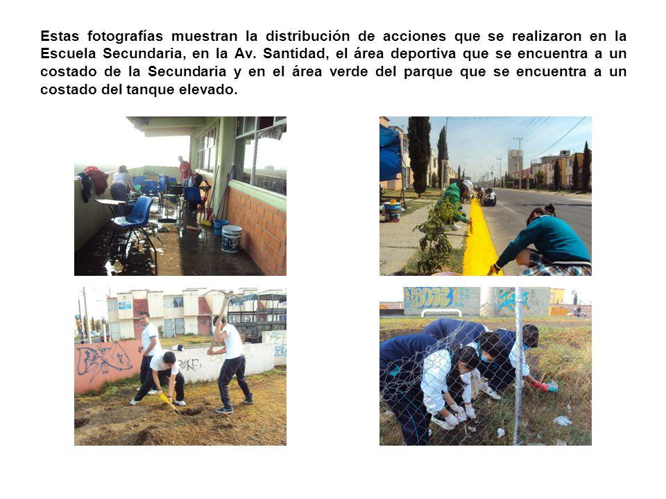 Estas fotografías muestran la distribución de acciones que se realizaron en la Escuela Secundaria, en la Av. Santidad, el área deportiva que se encuen