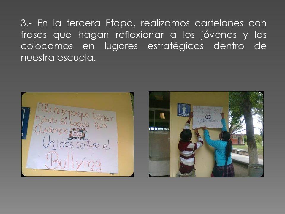 3.- En la tercera Etapa, realizamos cartelones con frases que hagan reflexionar a los jóvenes y las colocamos en lugares estratégicos dentro de nuestr