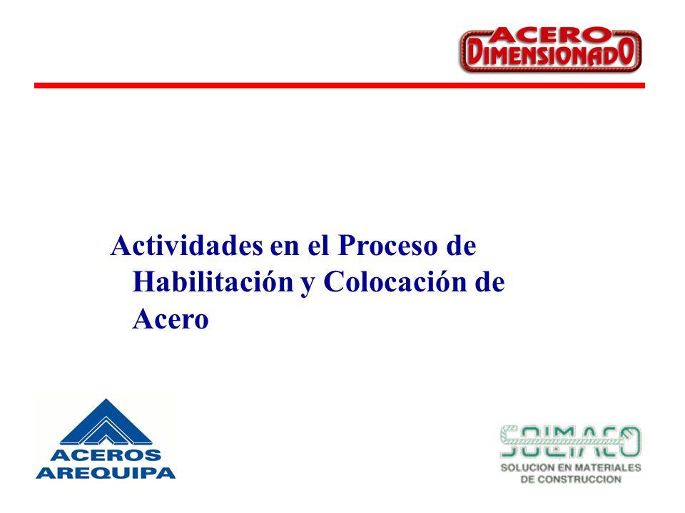 Actividades en el Proceso de Habilitación y Colocación de Acero