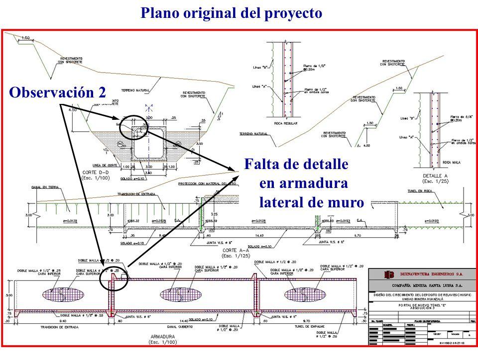 Plano original del proyecto Falta de detalle en armadura lateral de muro Observación 2