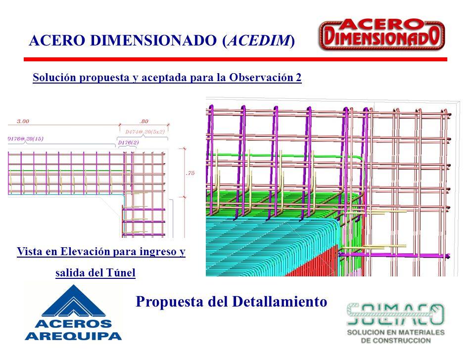 ACERO DIMENSIONADO (ACEDIM) Propuesta del Detallamiento Solución propuesta y aceptada para la Observación 2 Vista en Elevación para ingreso y salida del Túnel