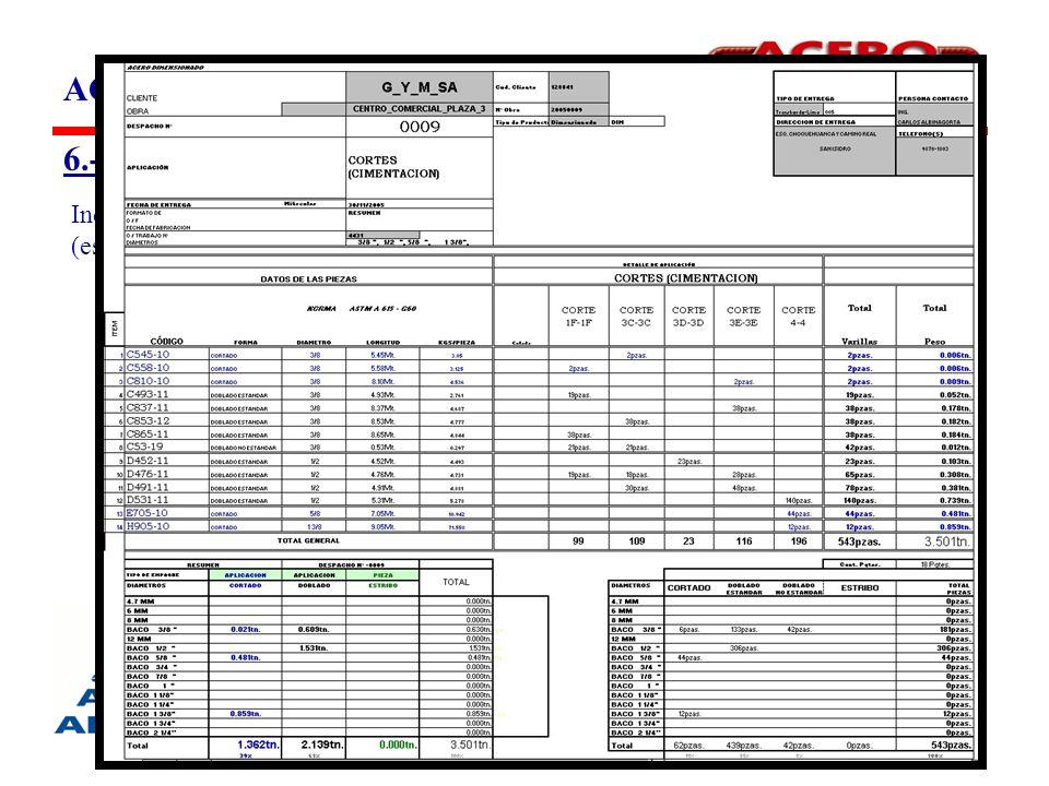 ACERO DIMENSIONADO (ACEDIM) 6.-Hoja de Despacho (Packing List) Indica los códigos y las cantidades de las piezas en sus respectivas aplicaciones (estructuras), suministradas con pesos teóricos.