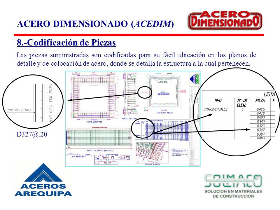 8.-Codificación de Piezas Las piezas suministradas son codificadas para su fácil ubicación en los planos de detalle y de colocación de acero, donde se detalla la estructura a la cual pertenecen.