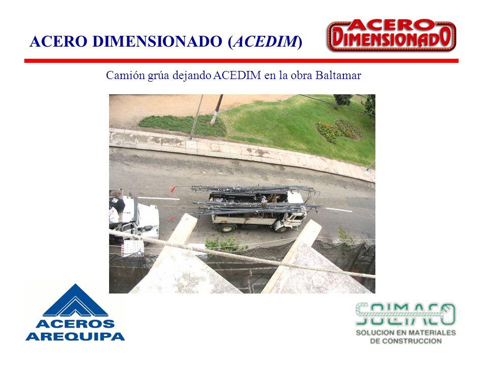 ACERO DIMENSIONADO (ACEDIM) Camión grúa dejando ACEDIM en la obra Baltamar