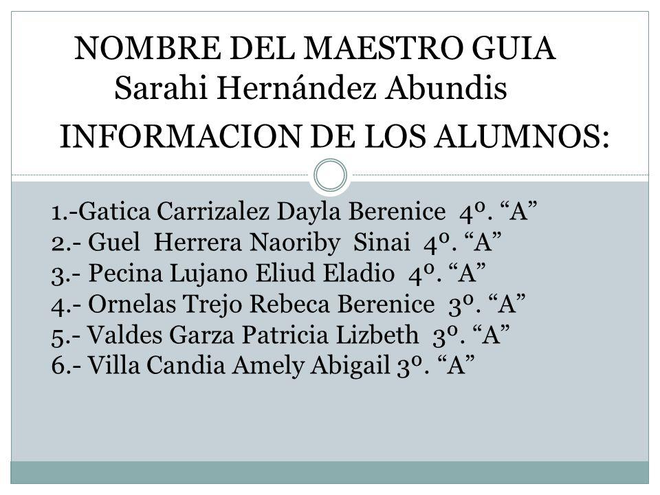 NOMBRE DEL MAESTRO GUIA Sarahi Hernández Abundis INFORMACION DE LOS ALUMNOS: 1.-Gatica Carrizalez Dayla Berenice 4º. A 2.- Guel Herrera Naoriby Sinai