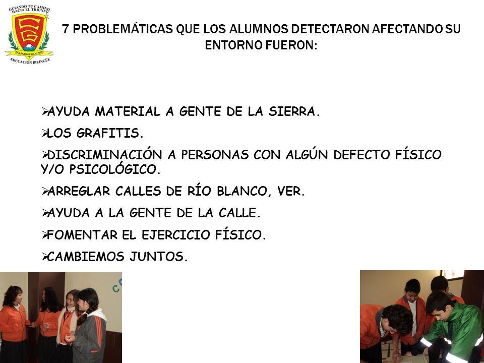 7 PROBLEMÁTICAS QUE LOS ALUMNOS DETECTARON AFECTANDO SU ENTORNO FUERON: AYUDA MATERIAL A GENTE DE LA SIERRA. LOS GRAFITIS. DISCRIMINACIÓN A PERSONAS C