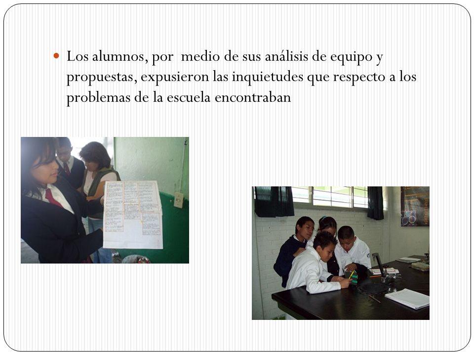 Los alumnos, por medio de sus análisis de equipo y propuestas, expusieron las inquietudes que respecto a los problemas de la escuela encontraban