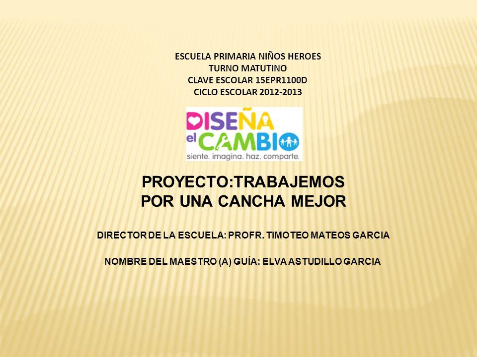 ESCUELA PRIMARIA NIÑOS HEROES TURNO MATUTINO CLAVE ESCOLAR 15EPR1100D CICLO ESCOLAR 2012-2013 DIRECTOR DE LA ESCUELA: PROFR. TIMOTEO MATEOS GARCIA NOM