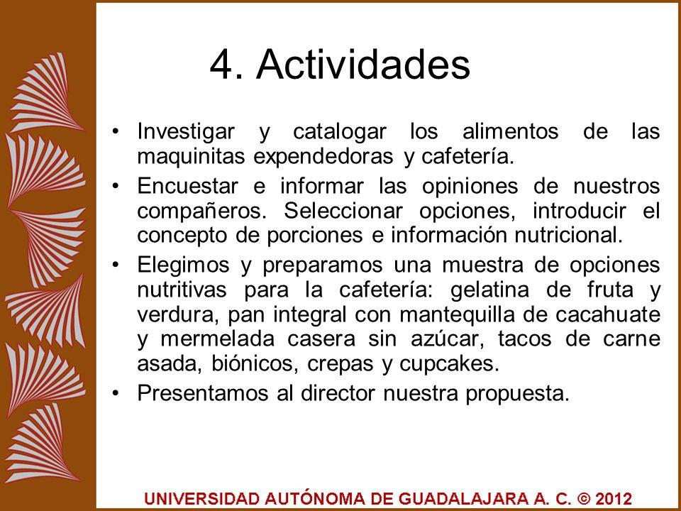 4. Actividades Investigar y catalogar los alimentos de las maquinitas expendedoras y cafetería. Encuestar e informar las opiniones de nuestros compañe