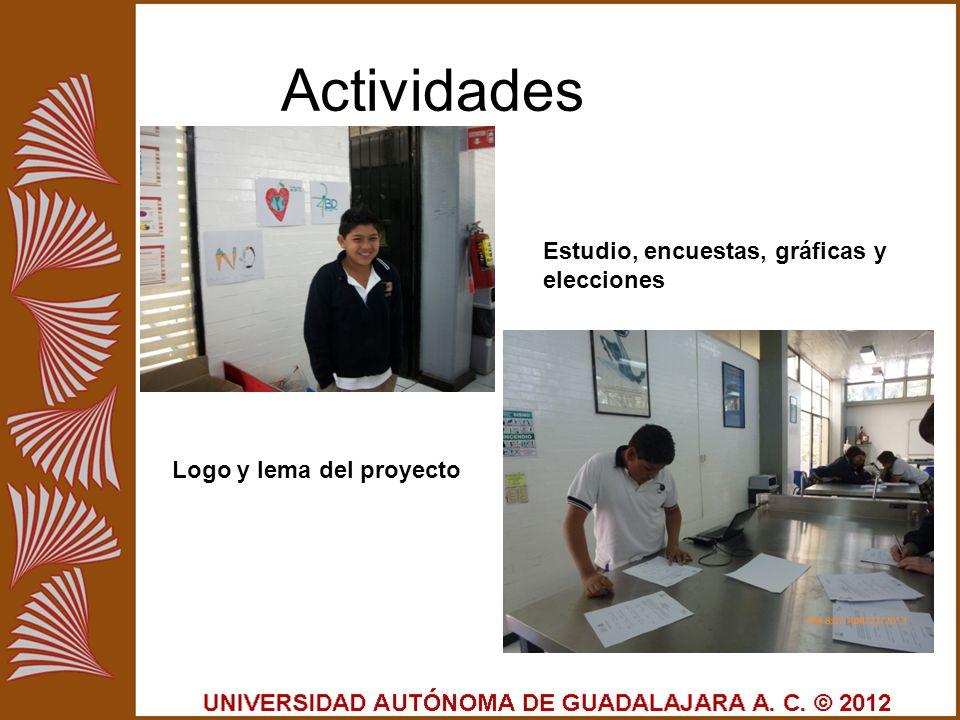Actividades Logo y lema del proyecto Estudio, encuestas, gráficas y elecciones