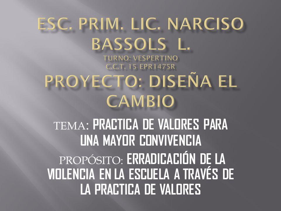 TEMA : PRACTICA DE VALORES PARA UNA MAYOR CONVIVENCIA PROPÓSITO: ERRADICACIÓN DE LA VIOLENCIA EN LA ESCUELA A TRAVÉS DE LA PRACTICA DE VALORES