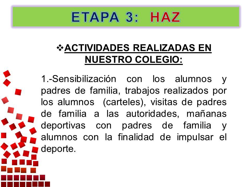 ACTIVIDADES REALIZADAS EN NUESTRO COLEGIO: 1.-Sensibilización con los alumnos y padres de familia, trabajos realizados por los alumnos (carteles), vis