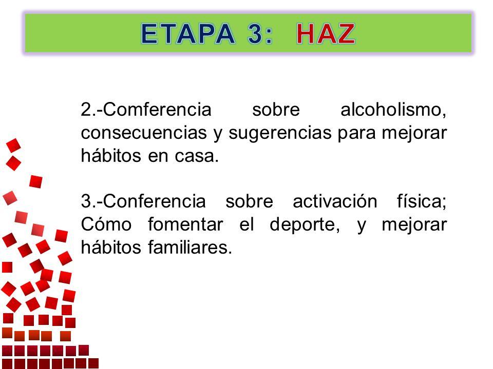 2.-Comferencia sobre alcoholismo, consecuencias y sugerencias para mejorar hábitos en casa. 3.-Conferencia sobre activación física; Cómo fomentar el d