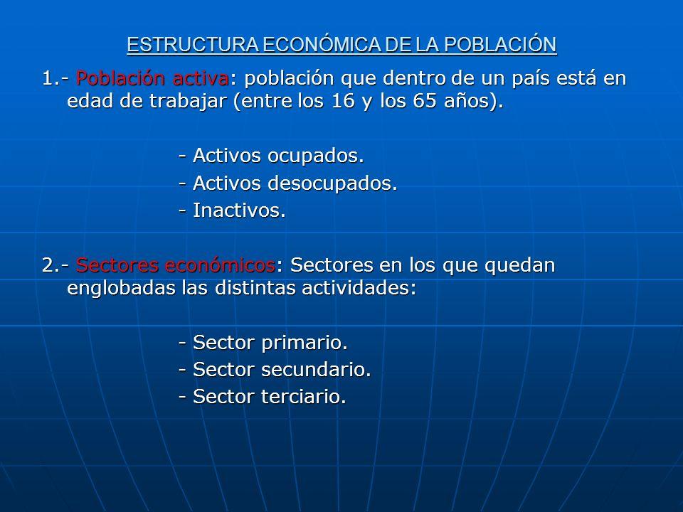 ESTRUCTURA ECONÓMICA DE LA POBLACIÓN 1.- Población activa: población que dentro de un país está en edad de trabajar (entre los 16 y los 65 años).