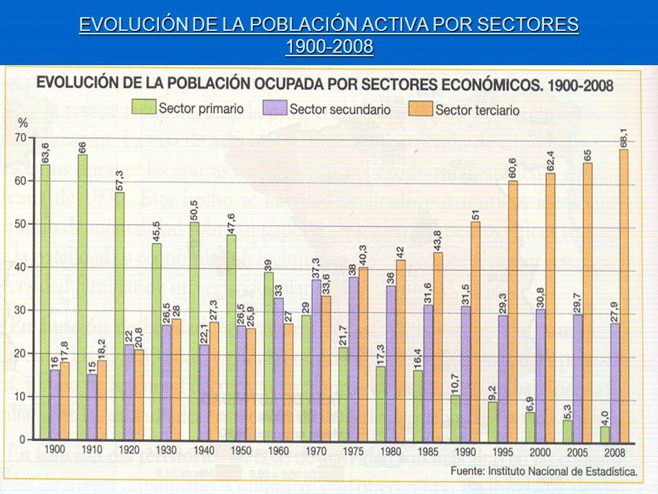 EVOLUCIÓN DE LA POBLACIÓN ACTIVA POR SECTORES 1900-2008