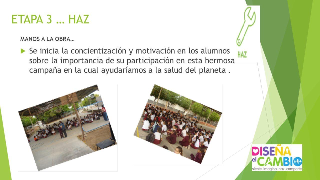 ETAPA 3 … HAZ MANOS A LA OBRA… Se inicia la concientización y motivación en los alumnos sobre la importancia de su participación en esta hermosa campa