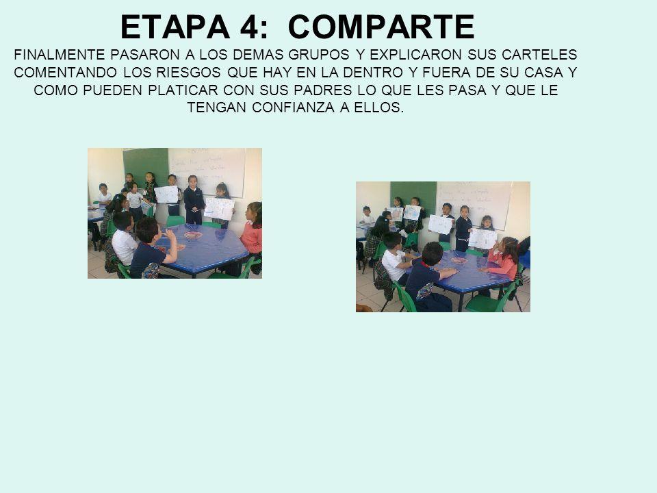 ETAPA 4: COMPARTE FINALMENTE PASARON A LOS DEMAS GRUPOS Y EXPLICARON SUS CARTELES COMENTANDO LOS RIESGOS QUE HAY EN LA DENTRO Y FUERA DE SU CASA Y COM