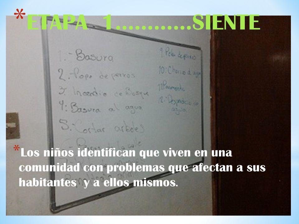 * ETAPA 1…………SIENTE * Los niños identifican que viven en una comunidad con problemas que afectan a sus habitantes y a ellos mismos.