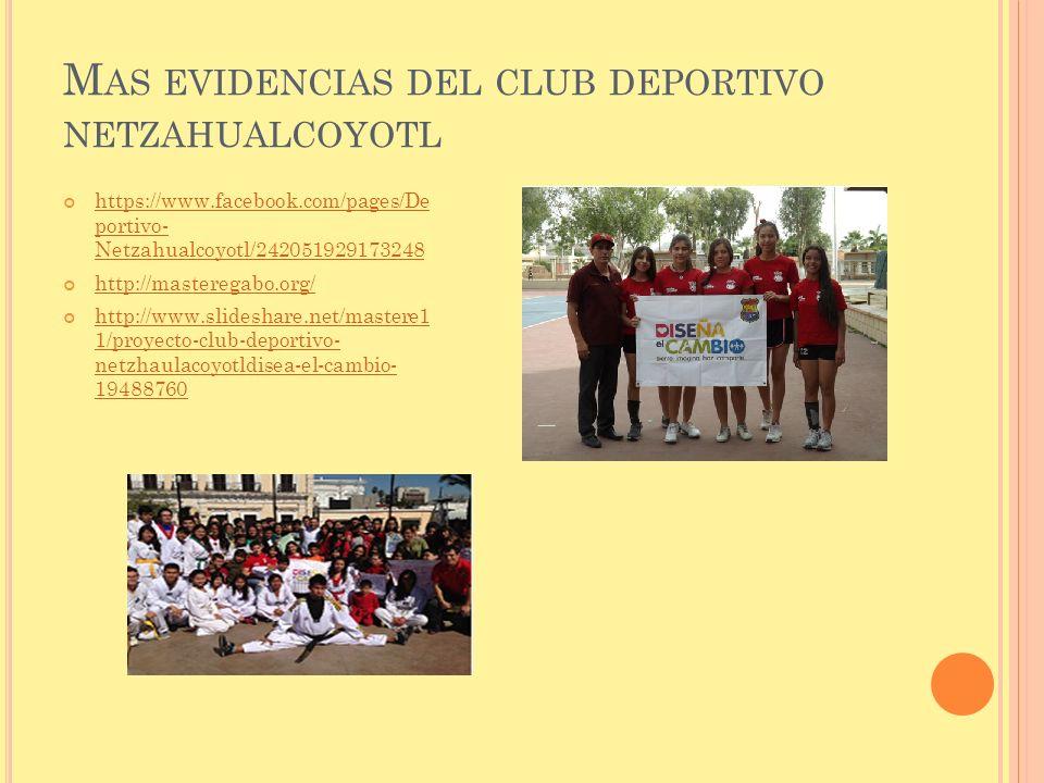 M AS EVIDENCIAS DEL CLUB DEPORTIVO NETZAHUALCOYOTL https://www.facebook.com/pages/De portivo- Netzahualcoyotl/242051929173248 https://www.facebook.com