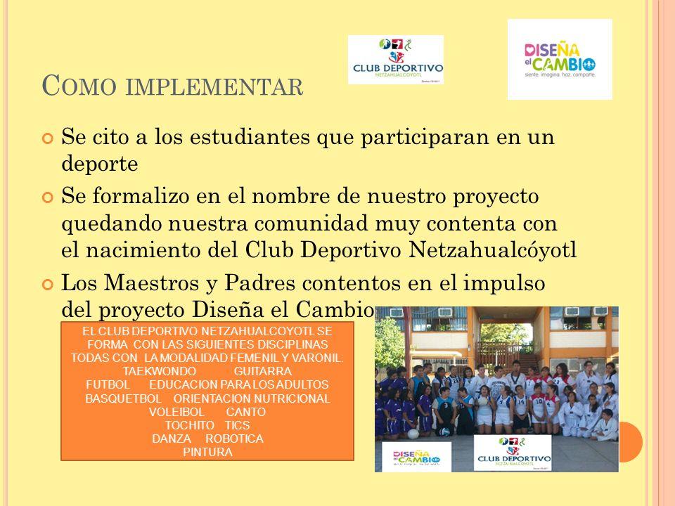 C OMO IMPLEMENTAR Se cito a los estudiantes que participaran en un deporte Se formalizo en el nombre de nuestro proyecto quedando nuestra comunidad mu