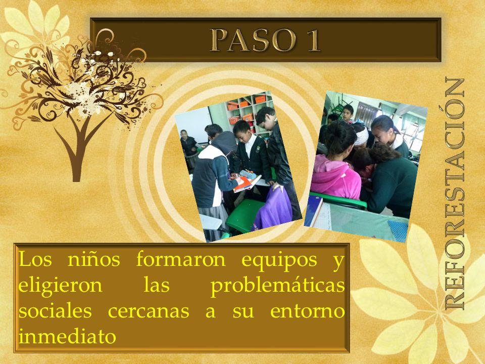 Los niños formaron equipos y eligieron las problemáticas sociales cercanas a su entorno inmediato