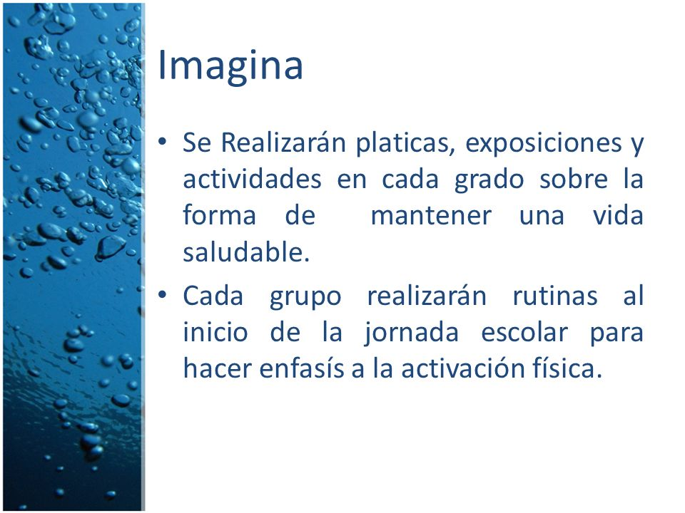 Imagina Se Realizarán platicas, exposiciones y actividades en cada grado sobre la forma de mantener una vida saludable.